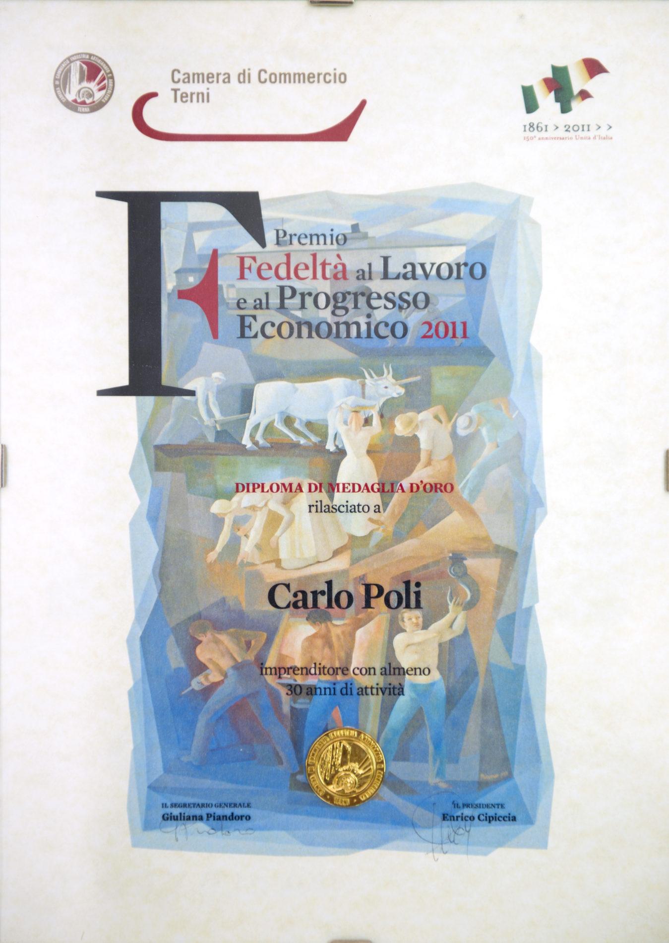 Premio fedeltà al lavoro e al progresso economico 2011